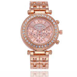 Geneva Fashion Diamond-Studded Steel Quartz Watch -