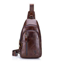 First Layer Cowhide Men's Casual Sports Chest Bag Shoulder Chest Bag -