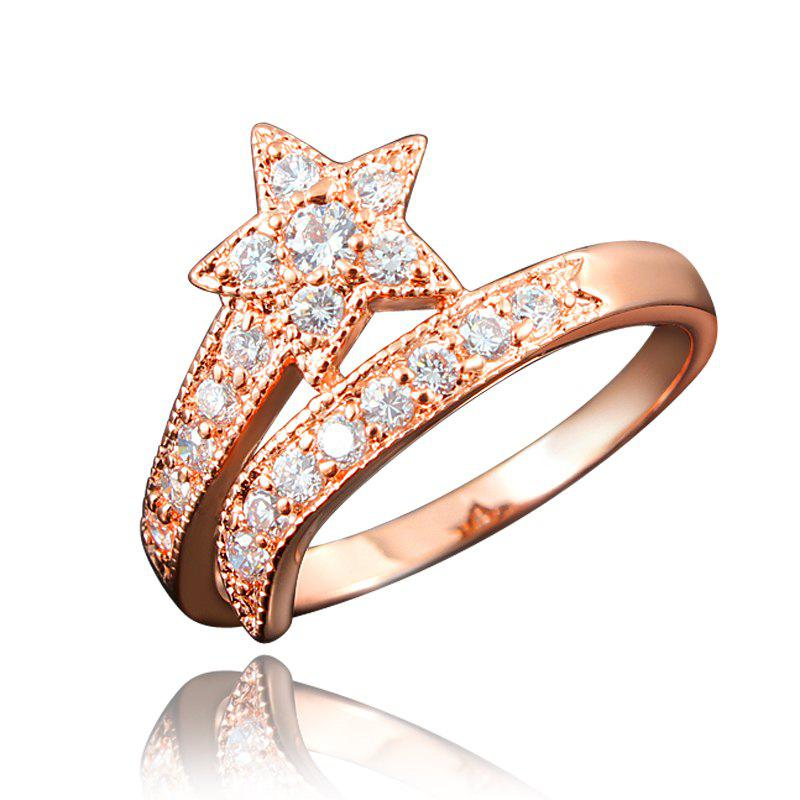 Hot Top Quality 18K Gold Plated Rings For Women Star-Shaped Jewelry Ring for Wedding