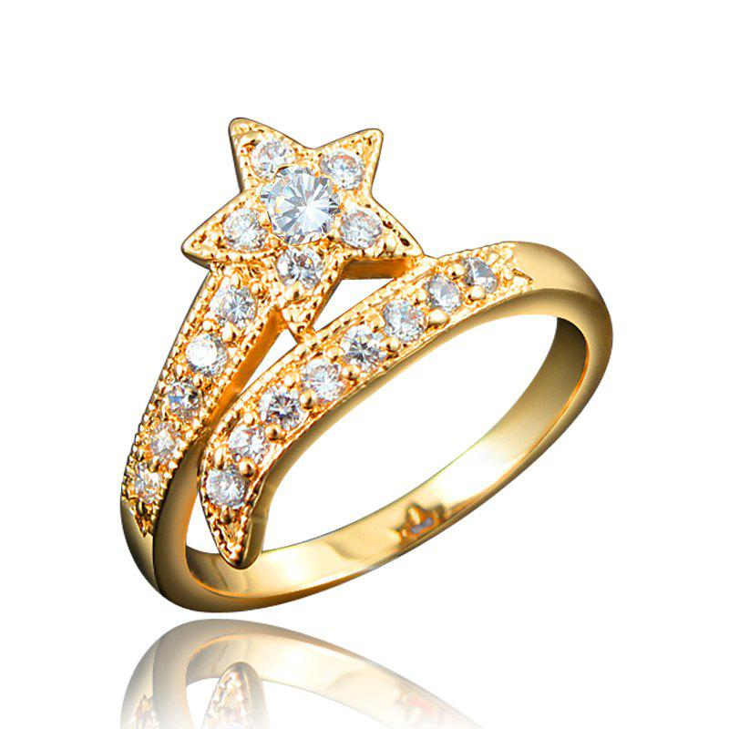 Chic Top Quality 18K Gold Plated Rings For Women Star-Shaped Jewelry Ring for Wedding