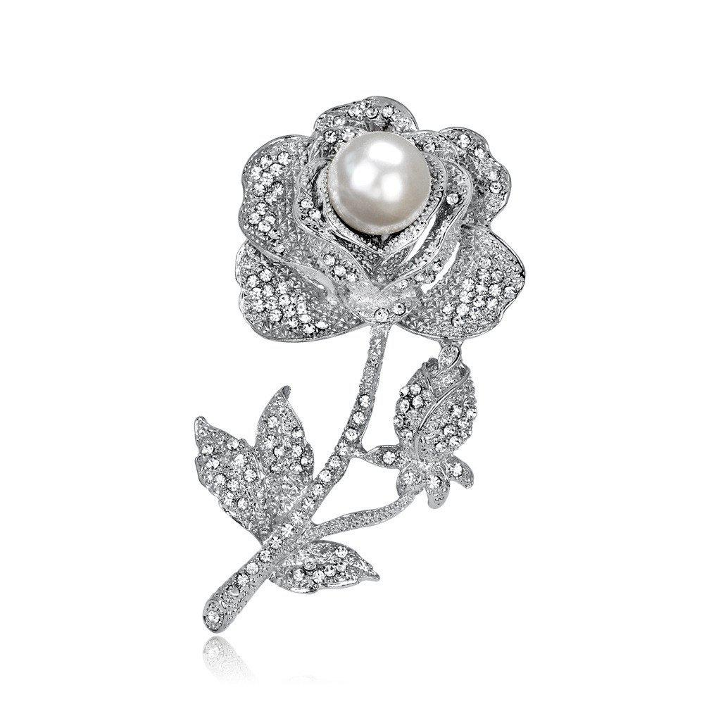 Fashion High-End Banquet Bride with Diamond and Pearl Exquisite Rose Brooch