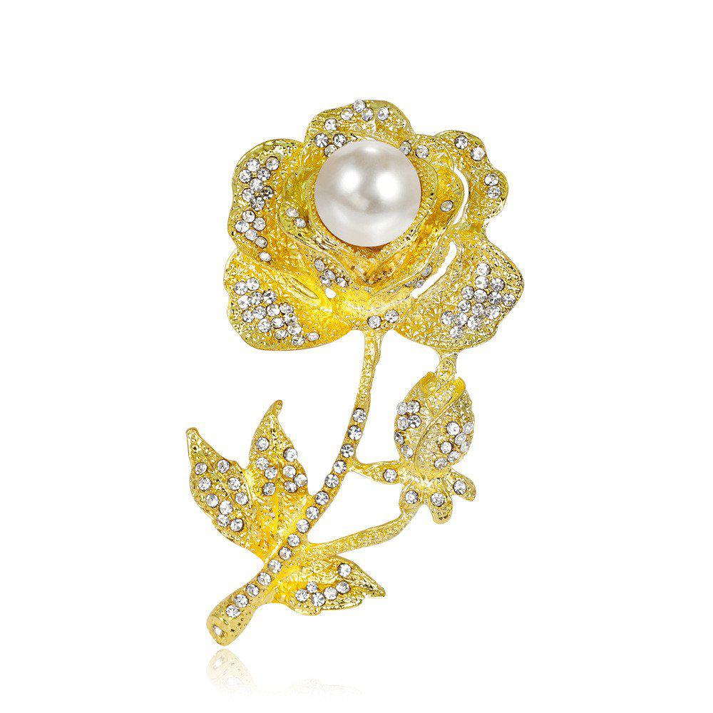 New High-End Banquet Bride with Diamond and Pearl Exquisite Rose Brooch