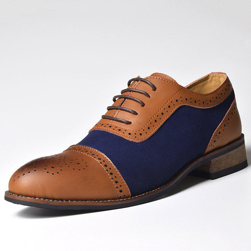 Unique COSIDRAM Block Carved Leather Lace-Up Dress Shoes for Men