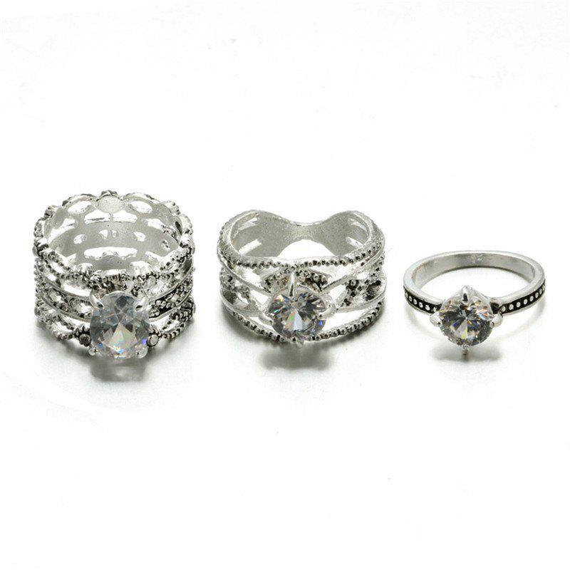 Outfits Three Sets of Trendy Ladies Diamond Rings