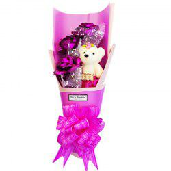 Gold Leaf Rose Bouquet Bear Valentine'S Day Birthday Gift Girlfriend Wife -