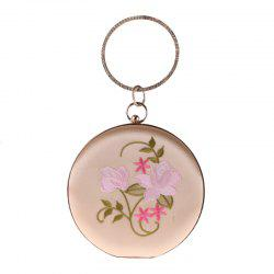 The New Round Hand Holding Flowers Embroidery Evening Bag Holding Evening Bags -