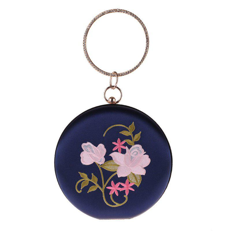 Chic The New Round Hand Holding Flowers Embroidery Evening Bag Holding Evening Bags