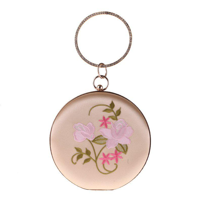 Discount The New Round Hand Holding Flowers Embroidery Evening Bag Holding Evening Bags