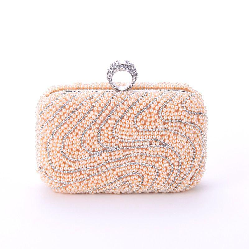 New Ladies Fashion New Hand Bag Set Auger Refers To Buckle Beaded Evening Bag