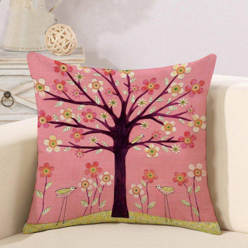 Trendy Cotton and Linen Pillowcase Linseed Oil Painting Tree Pillow Nap Office