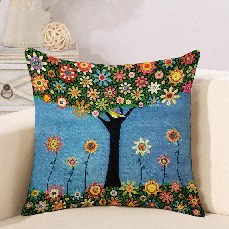 Online Cotton and Linen Pillowcase Linseed Oil Painting Tree Pillow Nap Office