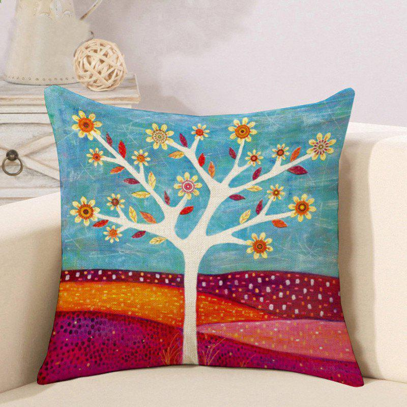 Best Cotton and Linen Pillowcase Linseed Oil Painting Tree Pillow Nap Office