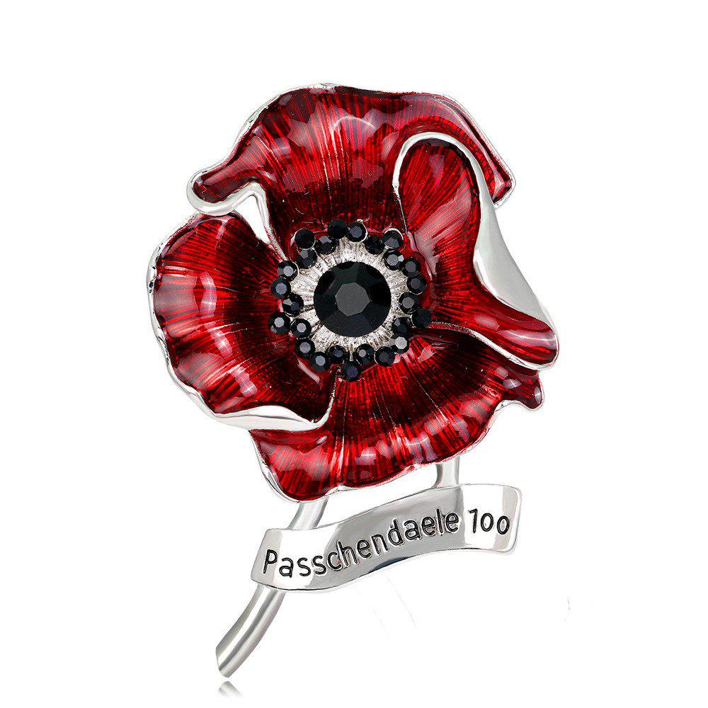 Outfits Fashionable Personality High-Grade Red Blooming Flowers Drop Glaze Brooch