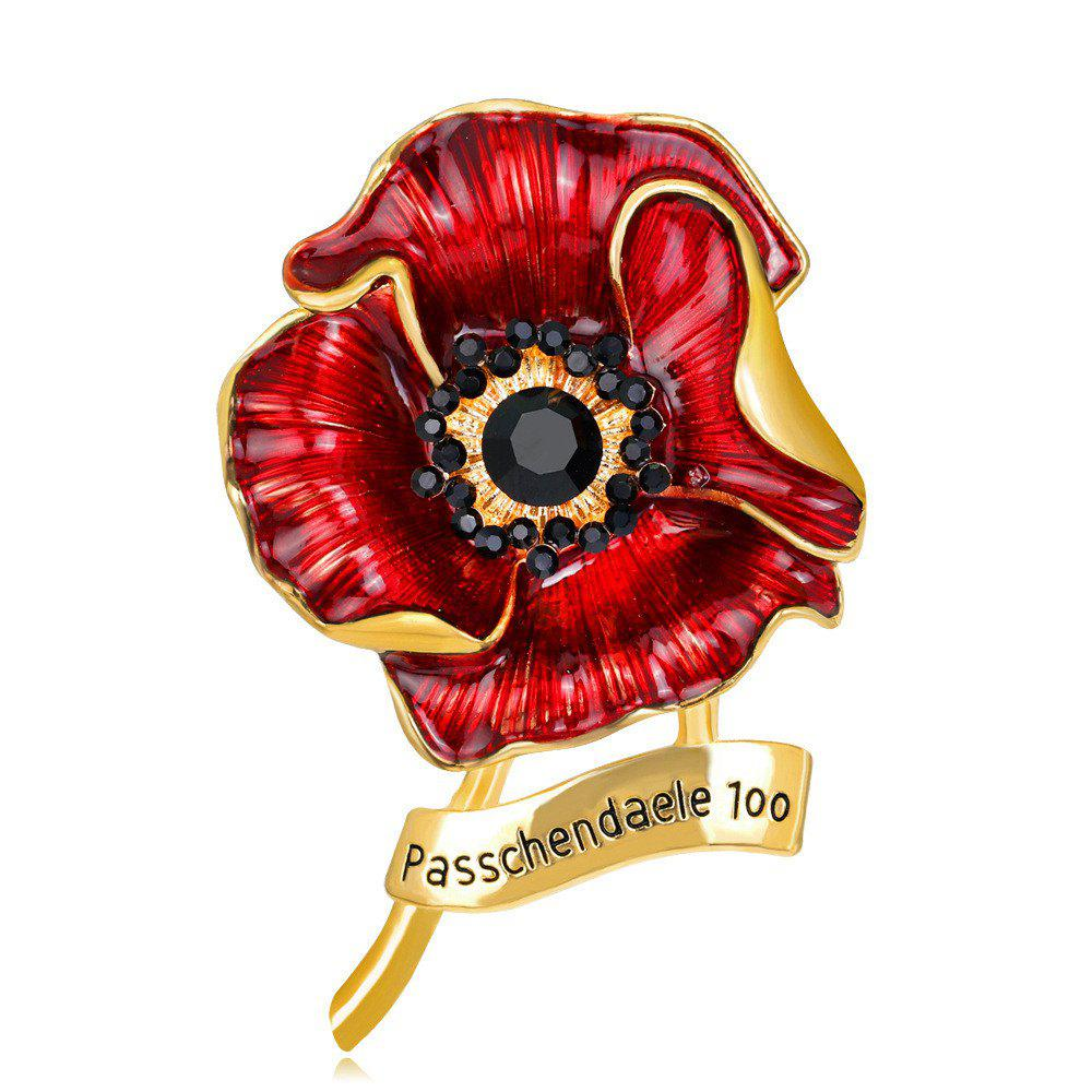 New Fashionable Personality High-Grade Red Blooming Flowers Drop Glaze Brooch
