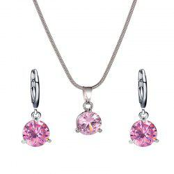 Fashion Round Zircon Necklace Earrings Set -