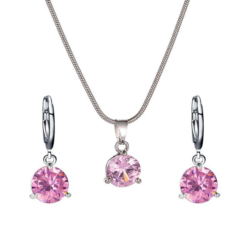 Trendy Fashion Round Zircon Necklace Earrings Set