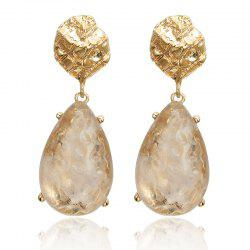 Transparent Drop-Shaped Alloy Inlaid Long Earrings -