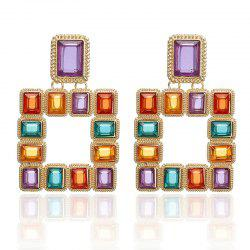 Square Color Crystal Inlaid Alloy Earrings Personalized Sexy Nightclub Earrings -