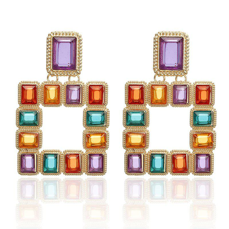 Buy Square Color Crystal Inlaid Alloy Earrings Personalized Sexy Nightclub Earrings