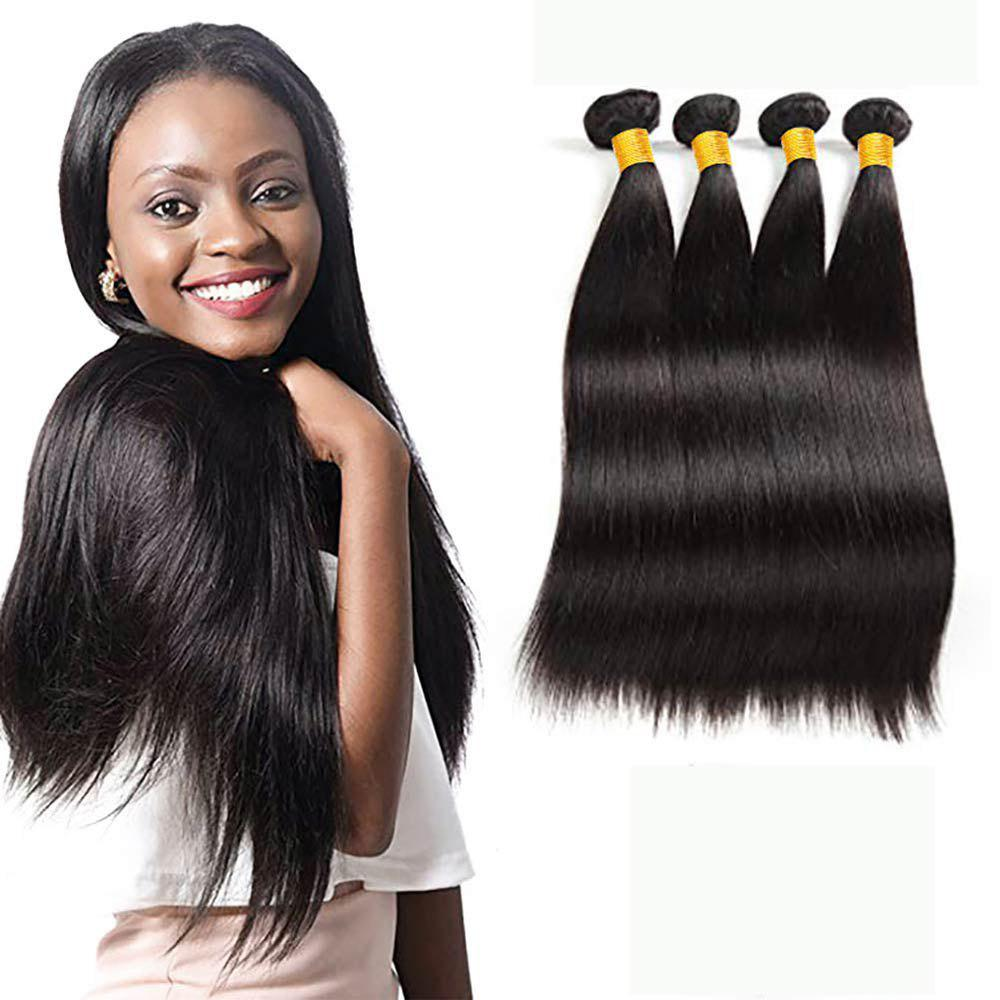 Online Brazilian Straight Human Hair 4 Bundles Stright Hair Extensions 50g/Bundle