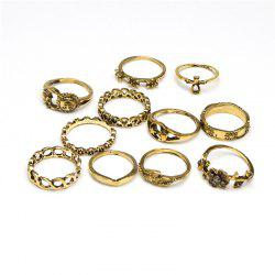 Fashionable and Delicate Lady Flower Sun 11 Rings Set -
