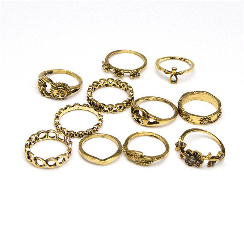 Hot Fashionable and Delicate Lady Flower Sun 11 Rings Set