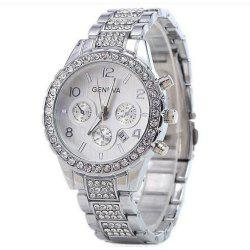 GENEVA Women Fashion Trend Diamond Alloy Set Diamond Watch -