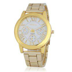 GENEVA Men Roman Literally  Leisure Business Stainless Steel with Quartz Watch -