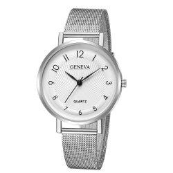 Geneva Women Leisure Stainless  Steel Mesh Band Watch -