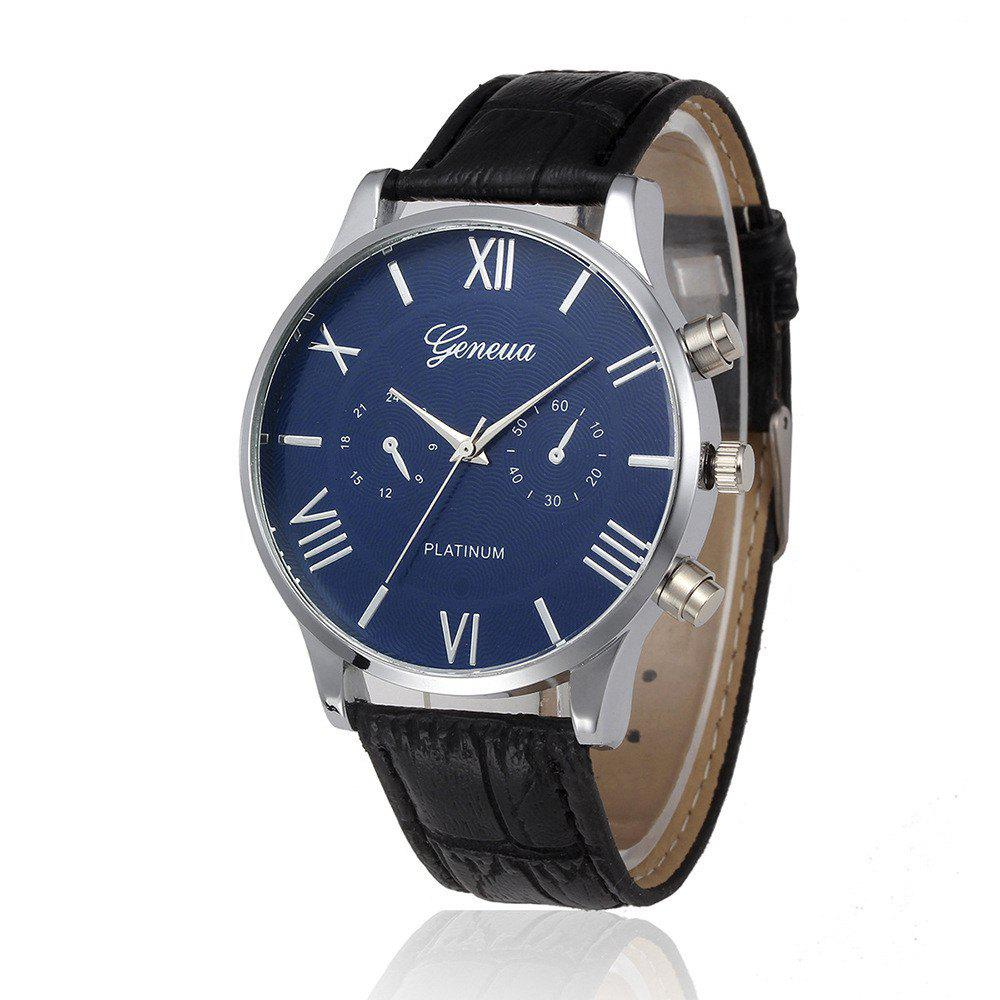 Fashion GENEVA Men Fashion  Leisure Simple Belt Quartz Watch