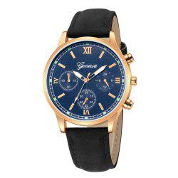 GENEVE Men Classic Business Casual Montre à quartz en cuir - Multi-D