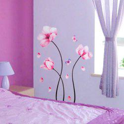 Beautiful Pink Dream Flowers Wall Stickers Home  Backdrop Decorative -