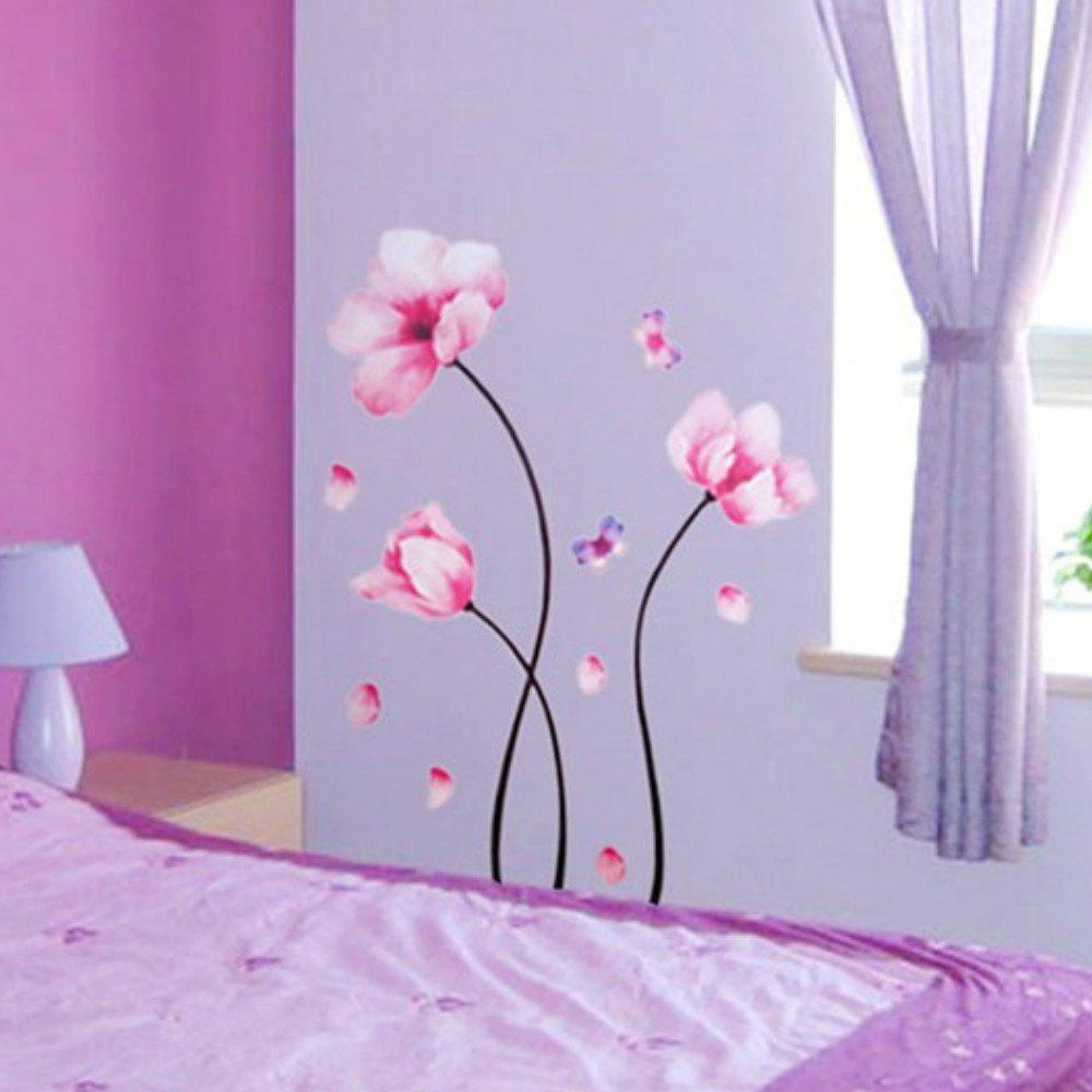 Best Beautiful Pink Dream Flowers Wall Stickers Home  Backdrop Decorative