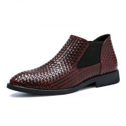 Hand-knitted Men's Leather Boots -