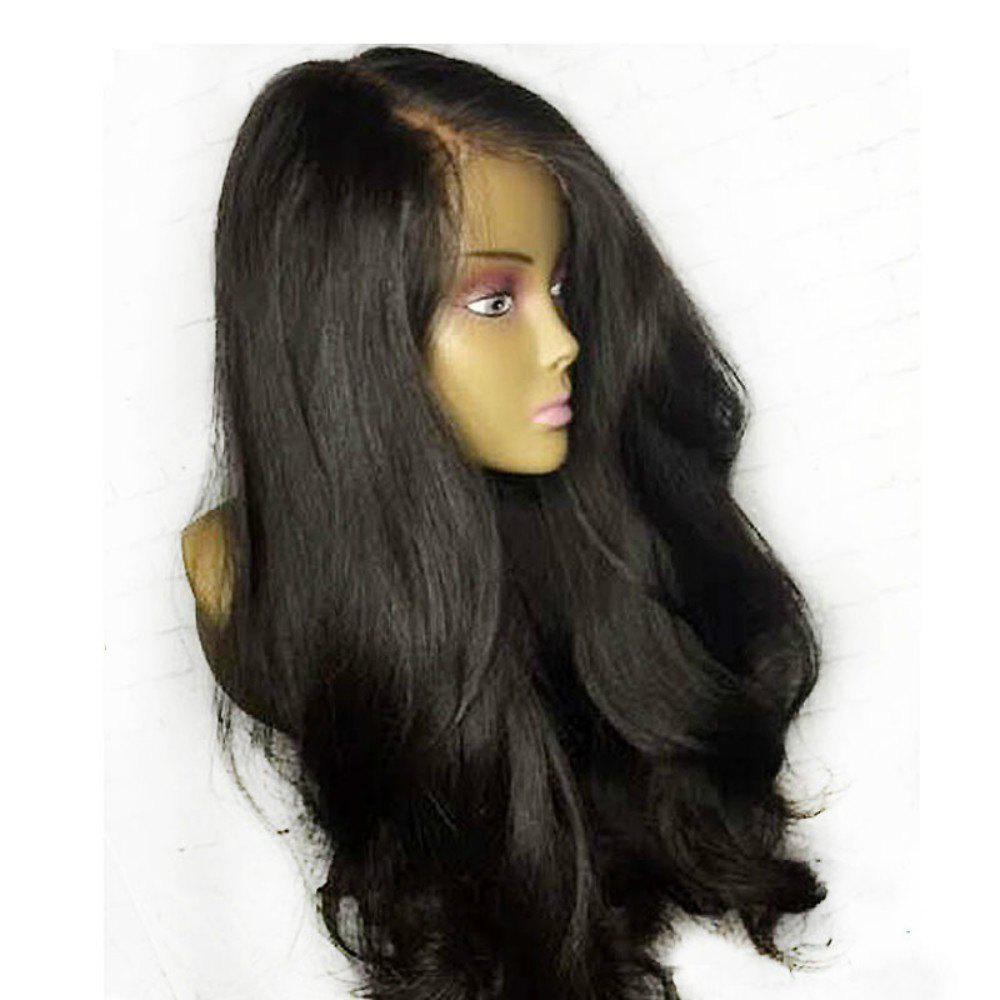 Affordable Solid Color Front Lace Long Curly Hair Fluffy Wavy Bouncy Black Wig Headgear