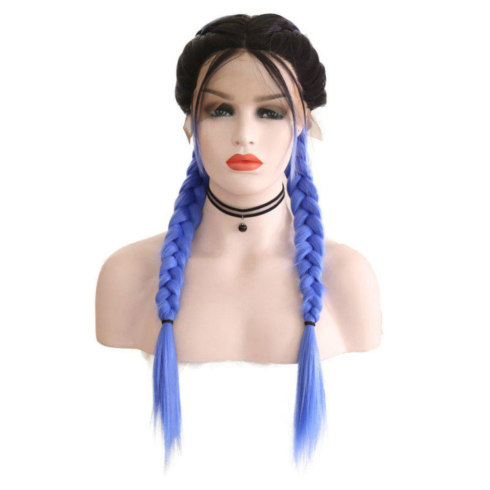 Cheap New Wig Fashion Middle Score Long Straight Hair Multicolor Optional Braided Wig