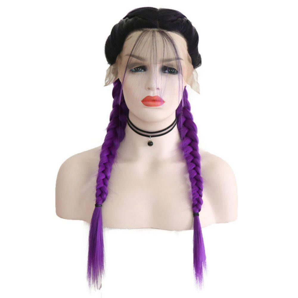 Shop New Wig Fashion Middle Score Long Straight Hair Multicolor Optional Braided Wig