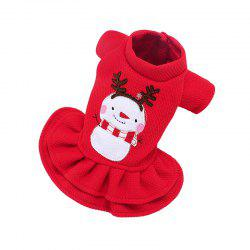 Pet Christmas Clothes Autumn and Winter Cotton Elk Snowman Embroidery Dog Clothe -