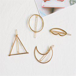 Color-Protection Plating Geometry Hairpin Clips Simple Hair Accessories 4 Pack -