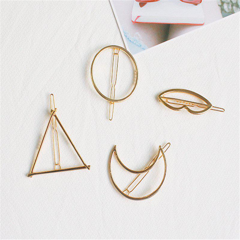 Shops Color-Protection Plating Geometry Hairpin Clips Simple Hair Accessories 4 Pack