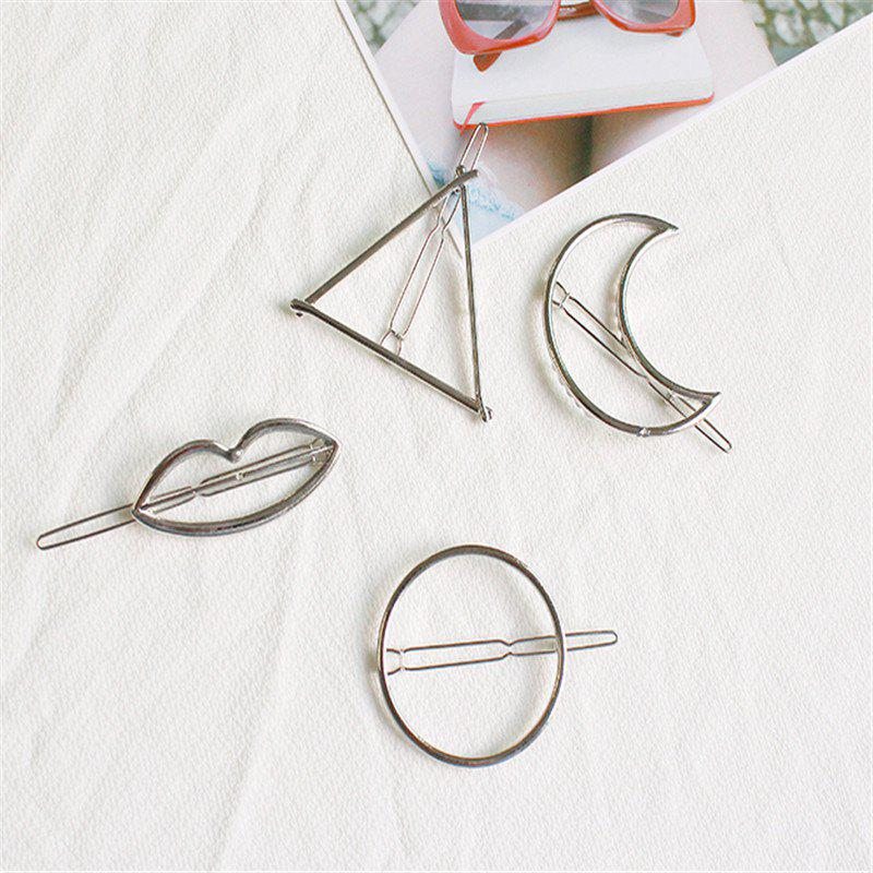 Outfit Color-Protection Plating Geometry Hairpin Clips Simple Hair Accessories 4 Pack