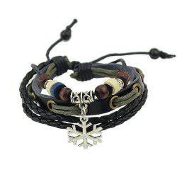 Black Rope Bracelets with Beads Snow Decoration -