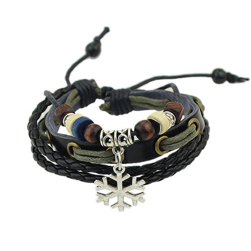 Buy Black Rope Bracelets with Beads Snow Decoration