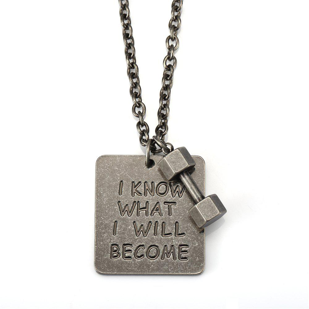 Fancy NYUK Fitness Small Dumbbell Lock Clasp Antique Silver Square Brand Necklace