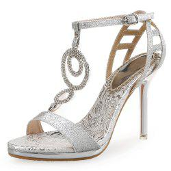 Summer High Heels Gold Fashion Catwalk Rhinestone Shoes Sexy Sandals -