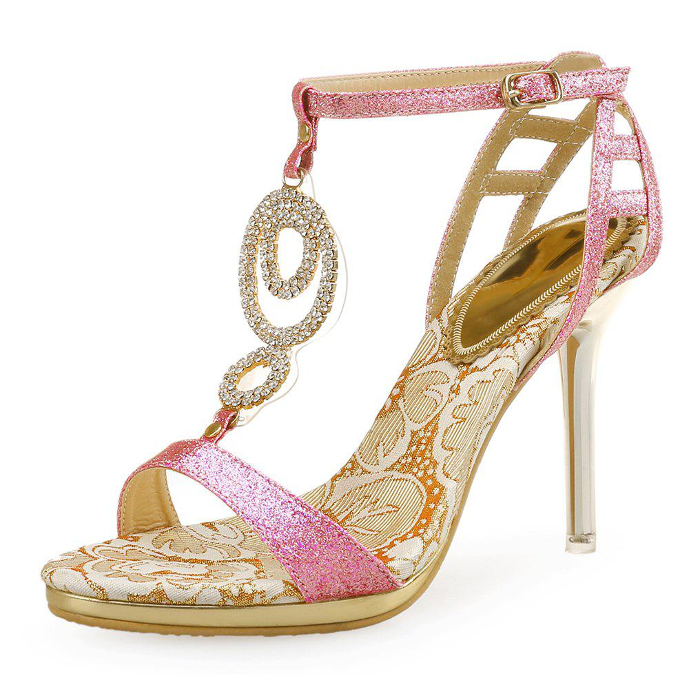New Summer High Heels Gold Fashion Catwalk Rhinestone Shoes Sexy Sandals
