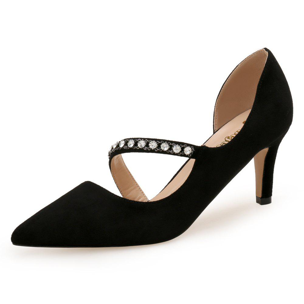 Buy Diamond Chain Black Pointed Temperament 7 Cm Banquet Shoes