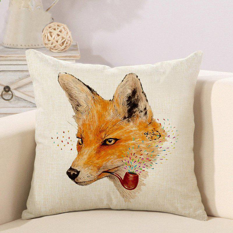 Buy Cartoon Little Fox Europe and America 3D Linen Pillow Cushion Cover
