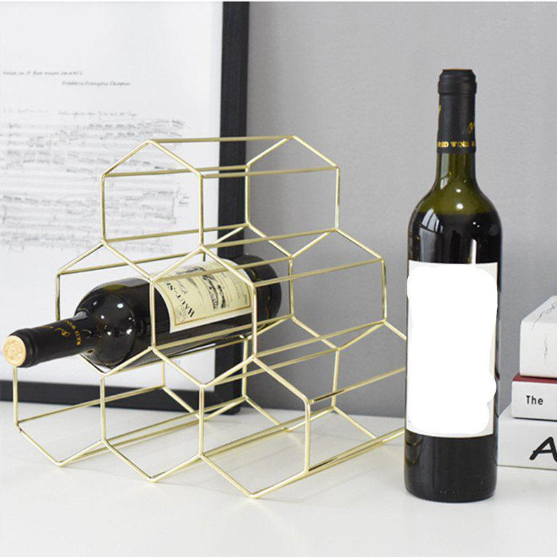 Fancy Hollow Wrought Iron Wine Rack Bar Metal Ornaments Plating