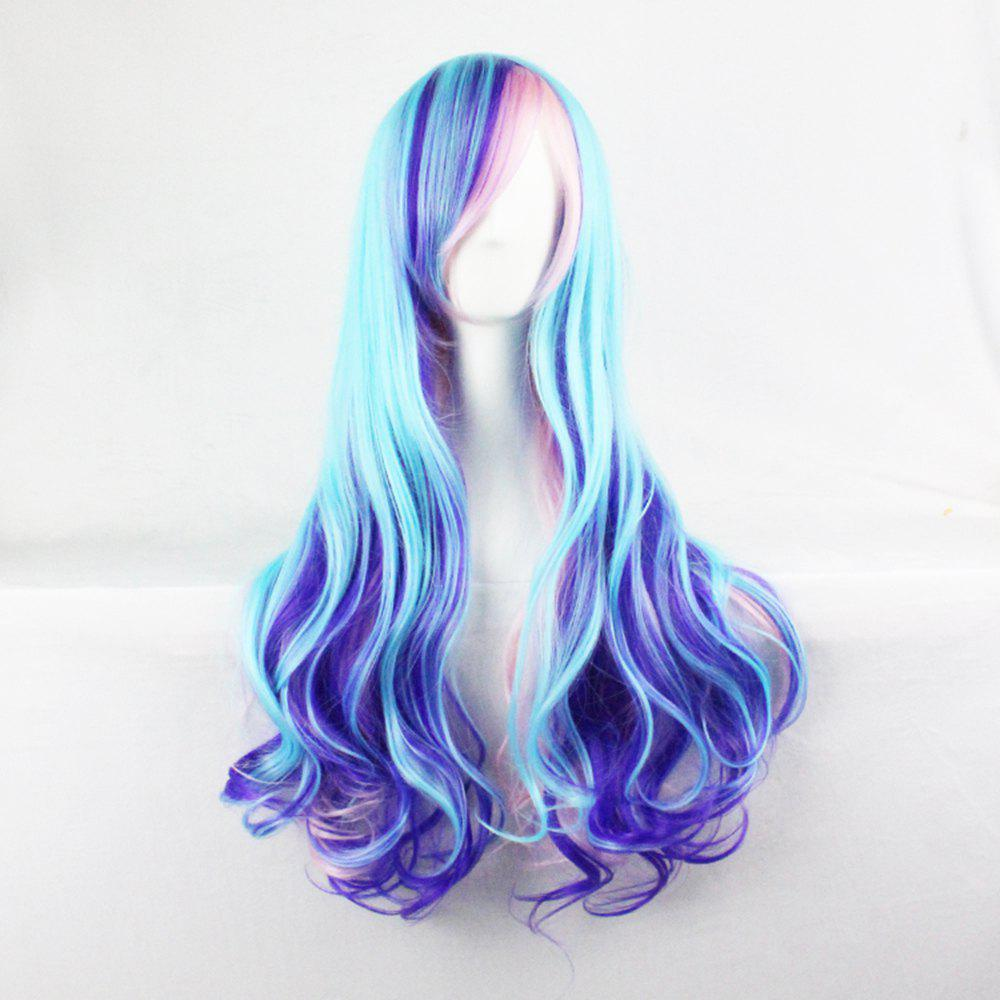 Unique Harajuku Gradual 68 Cm Long Curly Hair Color Blue Mixed Pink Fashion Hair Cover